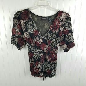 NY & Co stretch black and floral tie back top Sz L